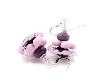 Pink Earrings, Ruffle Earrings, Lampwork Earrings, Glass Earrings, Beaded Earrings, Beadwork Earrings, Unique Earrings, Fun Earrings