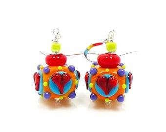 Bright Colorful Earrings, Heart Earrings, Lampwork Earrings, Glass Earrings, Glass Bead Earrings, Fun Earrings, Heart Jewelry, Multicolored