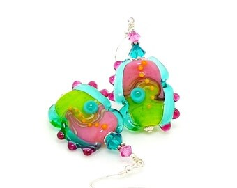 Colorful Abstract Earrings, Lampwork Earrings, Glass Earrings, Glass Bead Earrings, Unique Earrings, Glass Art Earrings, Modern Earrings