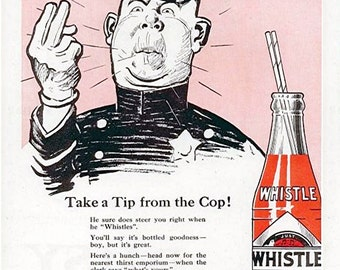 Whistle Soda ad vintage image 8 1/2 x 11 reproduction image