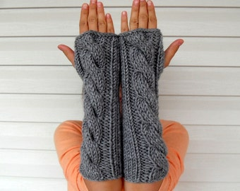 Hand Knit Fingerless Gloves, Fingerless Gloves, Arm Warmers, Cable Knit Gloves, Grey Gray