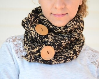Brown Knit Cowl, Hand Knit Cowl, Brown Scarf, Knit Scarf, Christmas Gift, Brown Neck Warmer, Wood Button, Gift For Her, Gift Under 30