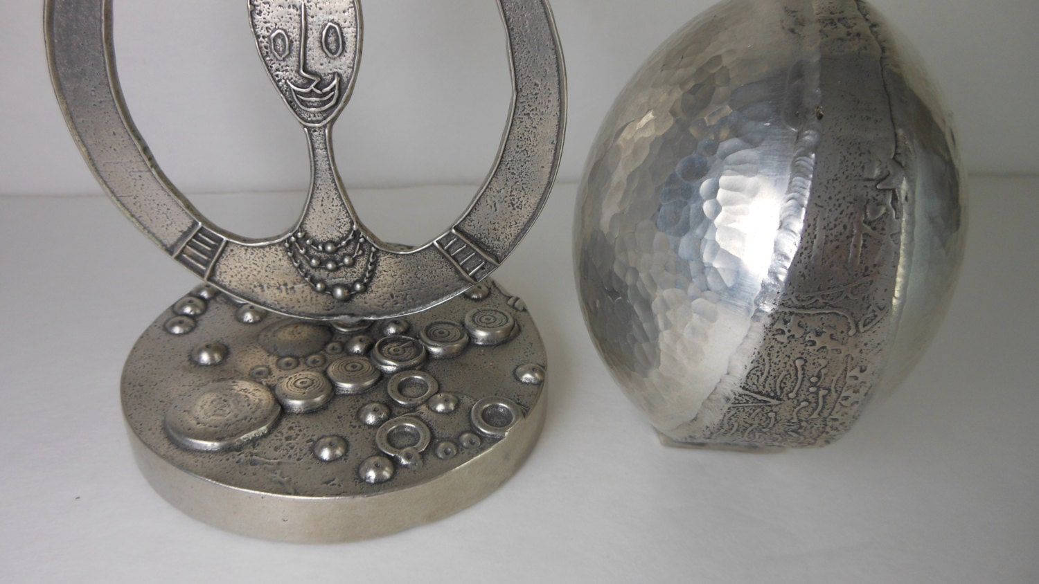 2 Modern Oil Lamps Art Objects Artisan Made Pewter 1980s