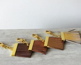 Flat Leather Tassel Keychains