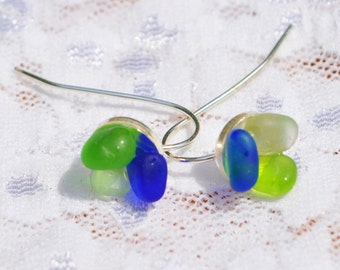 Sea Glass Jewelry Beach Wire Earrings Flowers of Color Sterling Silver 7250