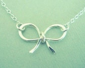 Silver Jewelry, Sterling Silver Bow Necklace, Silver Necklace, Bow Necklace