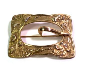 LARGE Antique Gold Tone Art Nouveau Floral Buckle Pin Brooch