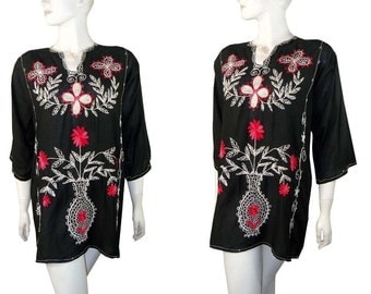 Vintage 60s Ethnic Embroidered Linen Tunic, Mini Dress or Even Beach Cover Up