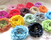 12pcs YOU Pick Colors: Layered Ruffle Ranunculus Flowers 4 inch Artificial Flowers Hair Accessories, Bridal Sash, Fascinator, Wedding Floral