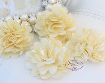 4 pcs - BUTTER CREAM Tiny Size Petite Satin and Tulle Puff Mesh Flowers - wedding bridal bridesmaid brooch flowers