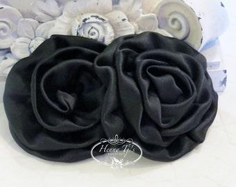 "2 pcs: 3"" BLACK Adorable Rolled Satin Rose Rosettes Fabric flowers Appliques"