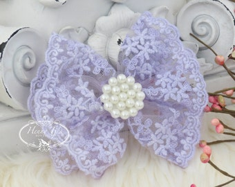 NEW: Quinlan Collection - 2 pcs Beautiful LAVENDER Pale Purple Lace and Pearls Hair Bow Applique.Hair accessories.Bridal garter. Bridal Sash
