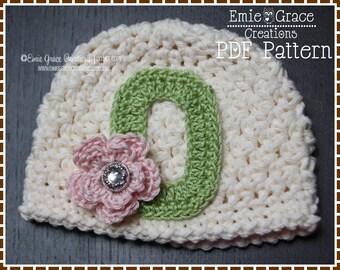 Monogram Hat Crochet Pattern, Textured Beanie, JANIE - pdf 215