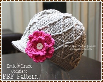Crochet Newsboy Hat Pattern, Diamond Cable Brimmed Beanie, LISA - pdf 218