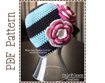 Flower Hat Crochet Pattern, 8 Sizes from Newborn to Adult, McKINLEY - pdf 216