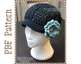 Flower Hat Crochet Pattern, 8 Sizes from Newborn to Adult, SARA - pdf 204