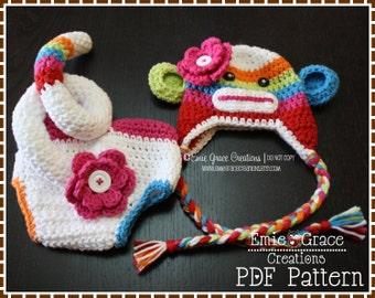 Sock Monkey Crochet Hat and Diaper Cover Pattern SET - SUZY & SID - 122, 702