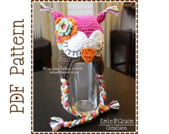 Crochet Owl Hat Pattern, Ear Flap Sleepy and Awake, WHO LOVES YOU Owl - pdf 130