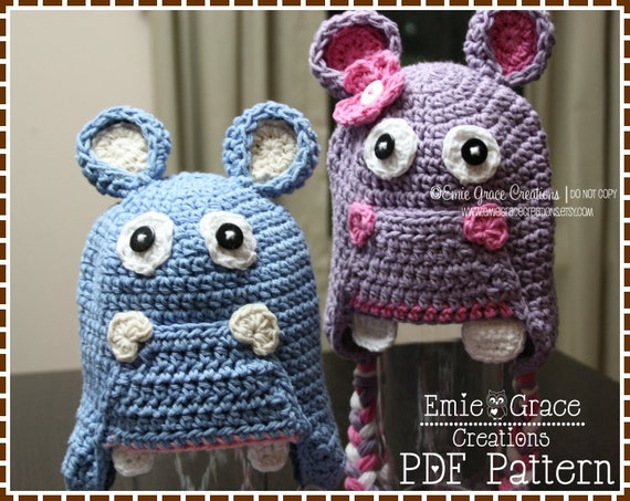 Crochet Hippopotamus Hat Pattern, 8 Sizes from Newborn to Adult, HUNGRY HUNGRY HIPPO - pdf 108