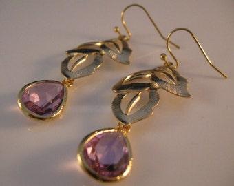 Lavendar Bezel Earrings,gold earrings,drop earrings,dangle earrings,cascading leaves,bezel earrings,earrings,jewelry