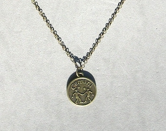 Antique Bronze Zodiac Gemini Pendant on Bronze Necklace