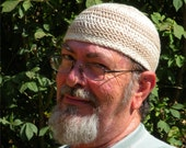 Mens Cotton Cooling Cap Crocheted in Big Band Stripes of Oatmeal & Sand