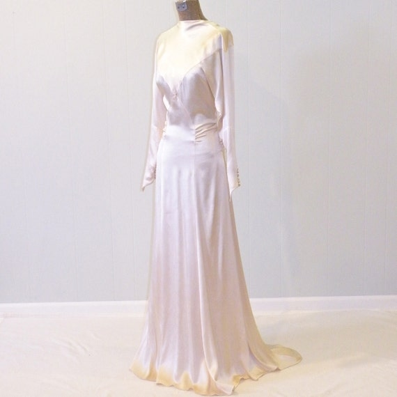 1930s Wedding Dress Ivory Silk Charmeuse 30s Wedding Gown
