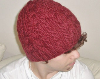 Burgundy Beanie Hat Cable Mens Hat Burgundy Knit Hat, Burgundy Hat Fall Fashion Mens Accessories Winter Hat