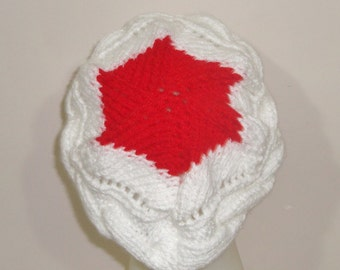 Japan Flag Hat Womens hat in Red and White Hand Knitted Cable Band  - WINTER SALE