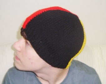 Belgium Flag Hat in Red, Black, Yellow - Hand Knit Hat - Hand Knit Beanie - Winter Hat - Winter Beanie