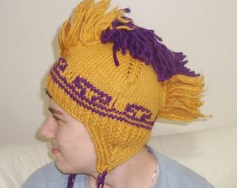 Hand Knit Mohawk Hat in Mustard, Gold, Purple Womens Hat with Ear Flaps Winter Hat