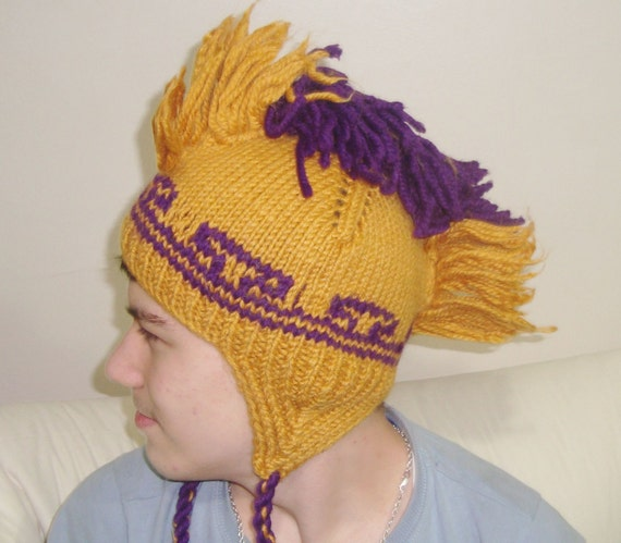 Mustard Womens Hat Mohawk Beanie Mustard Beret Knit Beret Mohawk Hat Knit Hat Mustard Hat Womens Accessories Winter Hat Mustard and Purple