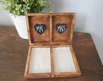 Rustic Personalized Ring Box His and Her's Custom color engraved, ring bearer pillow, chalkboard or wood tag