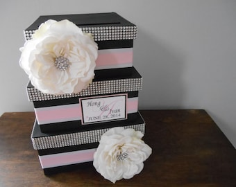 3 tiered Bling Wedding Card Box with personalized tag You Customize Colors and Flowers- shown black, pink and silver with rhinestones