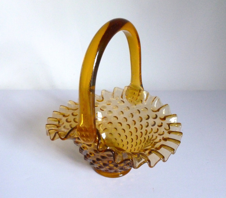 Vintage Fenton Amber Ruffled Hobnail Glass Basket Bowl Candy