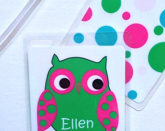 Kids Bag Tag Owl Luggage Tag School Bag Tag  Personalized  Kids Backpack Tag Owl Party Favor