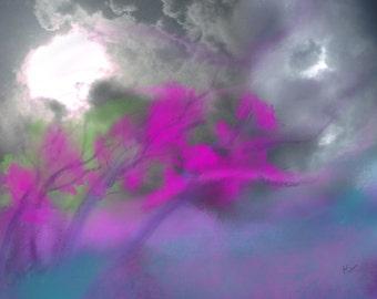modern digital art download abstract landscape print art of trees stormclouds digital artwork landscape