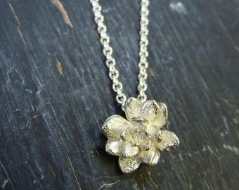 Miniature Flower Rosette Necklace -- Flower Necklace -- Nature Organic Jewelry -- Ready to Ship