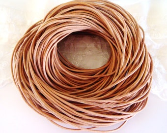 Natural Genuine Round Leather Cord 2mm, Greek High Quality Leather Cord- 2 Yards /1,85 m approx.