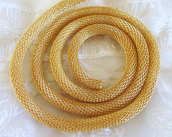 Gold Chain Steel Net 6mm ideal for Bracelets or Necklaces- Sold in  7 1/2 inches/19cm (1 piece)