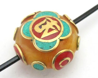 Tibetan copal resin Om bead with brass , turquoise and coral inlay -  1 bead - BD490A