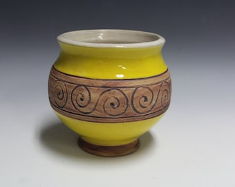 Yellow Stoneware Pot with Scroll Design
