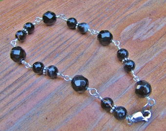 Faceted Obsidian, Banded Onyx and Sterling Silver