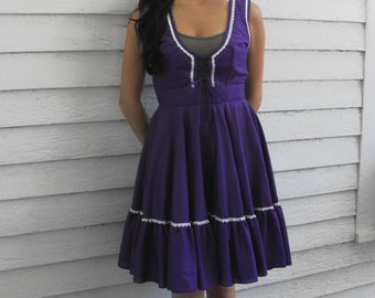 Dirndl Dress Purple Square Dance Country Maid Vintage Western XS S