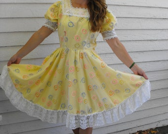 Yellow Floral Dress H Bar C Country Print Square Dance Party Vintage M