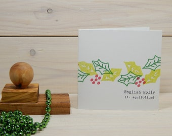 Holly and Berries Olive Wood Stamp Trio