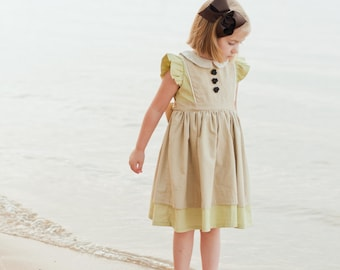 Printed Girls Dress Pattern - Georgia Vintage Dress Pattern, Size 6 Month - 10 Years by The Cottage Mama
