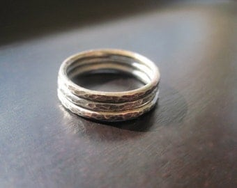 Sterling Silver Oxidized Textured Stacking Rings, Set of 3