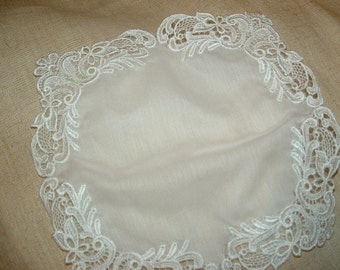 White Lace Embroidery Handkerchief