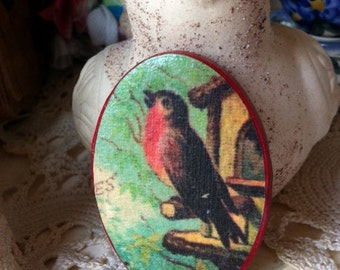 Vintage Red Bird Jewelry Colorful Brooch Lapel Pin Bird Watchers Bird Preservation Bird Lover Romantic Costume Jewelry Spring Red Breast